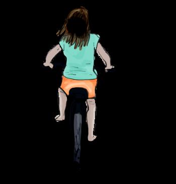 Petite fille à vélo 350x367