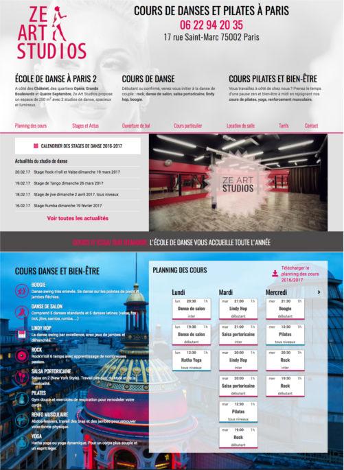 Page accueil du site ze art studios